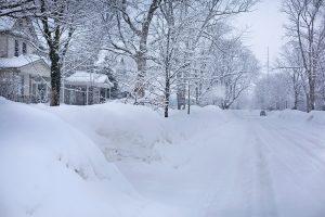 Snowy street in Michigan